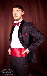 смокинг приталенный  бархатка шалька, трость, цилиндр, костюмы мужские