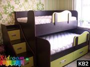Двухуровневая выдвижная кровать для двоих детей под заказ в Минске