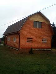 Дом сруб Владимир 9 × 7 с верандой, доставка-установка