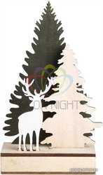 Деревянная фигурка с подсветкой Елочка с оленем 12-6-21, 5 см